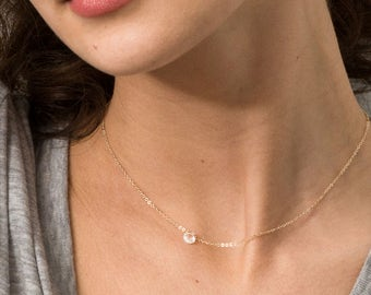 Ultra Dainty Necklace with Tiny Clear Drop, Simple Crystal Necklace / 14k Gold fill, Rose Gold, or Sterling Chain, Layered and Long LN618_L