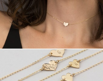 Dainty Choker Heart Necklace, Personalized Necklace (or blank) / 14k Gold Fill, Sterling Silver, Rose Gold Filled LN124_L_aj, LN117_10_L_aj