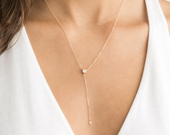 Gold & Diamond Y-Necklace - Minimal, Dainty Lariat Style Necklace with CZ - LN809