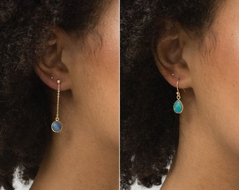 Tiny Stone Pendant Earrings • Circle or Teardrop Pendant • Turquoise and Blue Opal • on 14k Gold Fill, Sterling Silver LE720, LE721