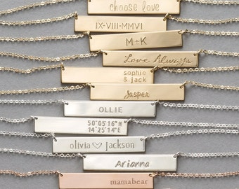 Gold or Silver Bar Necklace • Personalized Name Necklace • Custom Hand Stamped 14k Gold Fill or Sterling Silver Name Bar Necklace, LN155_32