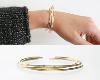 Thin Modern Cuff Bracelet - Dainty Stacking Cuffs - Hand-Hammered or Smooth Finish - 14k Gold Fill, Sterling, or Rose Gold - LB118