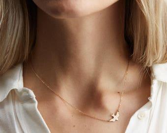 SOAR Bird Necklace - Dainty Layering Chain - Dove, Flight, Fly, Free - LN115