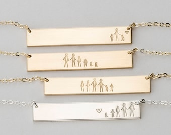 """Personalized """"Stick Family"""" Bar Necklace!  Gift for Best Friends, Sisters, Moms • Custom Hand Stamped Necklace with Kids, Friends • LN155_32"""
