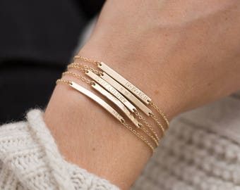 Bar Bracelet Personalized, Gold, Silver, Rose Gold / Small Skinny Bracelet - Dainty, Minimal Stacking Bracelet, Layered and Long • LB130_30