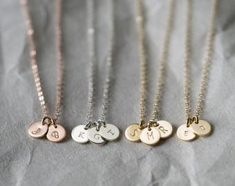 Tiny Initial Necklace - Personalized Gifts for Mothers, Necklace w/ Custom Children's Initials • Personalized Gift Ideas for Her •LN206