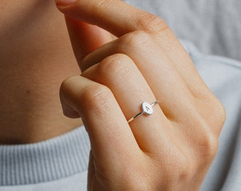 Personalized Tiny Oval Initial Ring - Dainty Signet Style, Custom Letter Ring - Sterling Silver, 14k Gold, Rose Gold - LR224