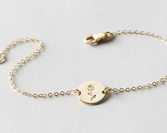 Delicate Rose Flower Disk Bracelet • Dainty Hand Stamped Disc On Delicate Chain • Custom Rose Bracelet for Women • Layered and Long LB209