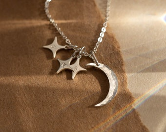 My Moon and Stars Necklace - Personalized Initial Pendant Necklace - Moon Necklace with Star Initial Tags - GNV_0231