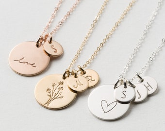 Medium Disk Necklace With Tiny Initial Tags • Custom Kids Initials • Gift for Mom • Disk Necklace in Silver, Gold Fill, or Rose Gold • LN227