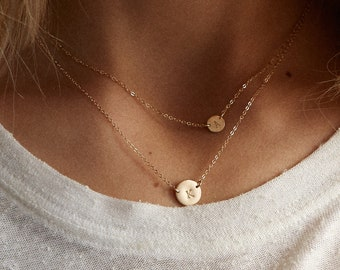 Initial Necklace Set of 2 - Initial Layered Necklace - Dainty Layer Necklace - Personalized Necklaces with Letters - Layered and Long -LS935