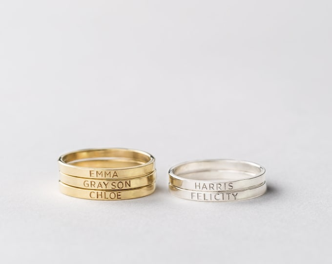 Personalized Stacking Rings - Dainty Stacked Name Rings - Stacking Rings for Mom - Kids Name Rings for Mom - LR502_1.8