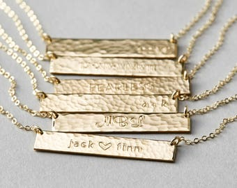 Customized Hammered Name Bar Necklace - Personalized OR Blank - in Silver, Gold or Rose Gold - LN155_32_H_hm