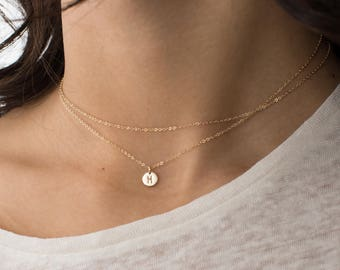 2-in-1, Dainty Choker Wrap or Long Necklace • Tiny Initial Necklace, Personalized Letter • Gold Filled, Sterling, Rose Gold • LN290