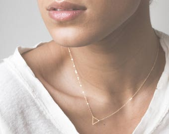 Tiny Floating Triangle Necklace - Dainty Little Gold Geometric Pendant - LN301