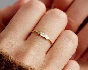 Personalized Jewelry Gift For Her • Handmade Stacking Ring • Gift for Mum, Daughter, Best Friend • Dainty Bar Ring by Layered and Long LR450