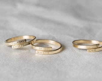 Personalized Name Ring • Custom Name Jewelry • Hand Stamped HUG RING • Sterling Silver Ring, 14K Gold Filled Ring • Layered and Long LR452