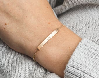 Personalized Perfect Bar Bracelet for Names, Dates, Initials... in 14k Gold Filled, Rose or Sterling Silver • perfect gift for her, LB140_35