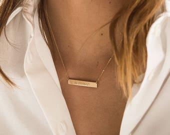 Personalized Gold Bar Necklace • Custom Name Bar Necklace • Gold Fill Bar Necklace • Bridesmaid Necklace Silver, Gold, Rose Gold • LN155_32