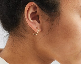 Bessie Thin Hoop Earrings • 14k Gold Filled Earring, Sterling Silver or Rose Gold • Dainty Wire Hoop Earring • Layered and Long • LE452_15