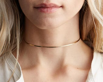 Dainty Gold Choker Necklace, Collar Necklace - 14k Gold Fill and Rose Gold Filled /  Simple Gold Neck Ring Necklace / Layered and Long LN196