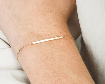 Extra Dainty, Personalized Initial Bracelet • Custom Delicate, Tiny Letters •  Minimal, Narrow Bar • Gold, Silver or Rose Gold • LB120_30