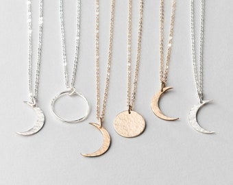 Dainty Moon Phase Necklaces - Simple Crescent - Waxing or Waning Moons Necklace.  14k Gold Fill, Sterling Silver - LN116