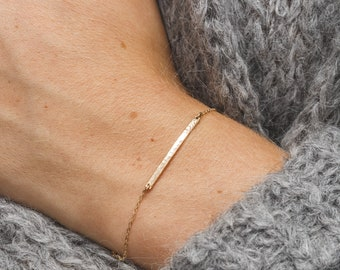 Extra Dainty Personalized Bar Bracelet - Minimal, Tiny Letters/Initials • Gold, Silver or Rose Gold - LB120_30