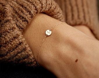 Super Dainty Initial Bracelet - Delicate, Personalized Tiny Disk - 14k Gold Fill, Sterling or Rose Gold - LB206