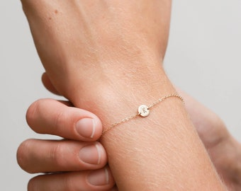 Personalized Super Dainty Initial Bracelet - Tiny Disk with Letter or Symbol - Personal Handmade Gift - LB206