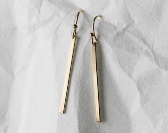 Dainty Earrings - 14k Gold Fill - Sterling Silver, Rose Gold Fill, Simple Bar Drop Earrings -  Long Dangle Line Earrings - LE120_vn