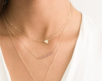 Set 957 • Delicate Layered Necklaces w/ Tiny Heart Necklace & Lariat / Silver, Rose Gold or Gold Necklace / Birthstone Necklace