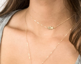Choker Hamsa Necklace / Simple Necklace with Hamsa Hand / Delicate Gold Short Layering Necklace by Layered and Long LN308_aj