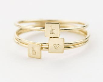 Square Initial Ring • Personalized Ring (or blank) • Stacking Ring • Custom Signet • Hand Stamped • 14k Gold Fill, Sterling Silver, LR456