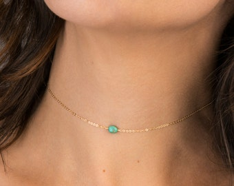 Choker Necklace, REAL Turquoise with Gold Filled, Sterling Silver or Rose Gold / Delicate and Dainty Short Layering Necklace LN616_aj