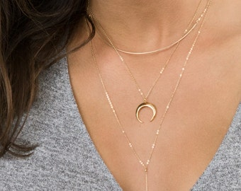 Upside Down Moon Necklace or Layered Necklaces Set • The CRESCENT Necklace in Gold, Silver or Rose Gold • LN345, LS979
