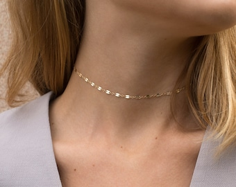 Chain Lace Choker Necklace - Gold, Silver, or Rose Dainty Choker Chain or Short Layering Necklace - LN007_aj