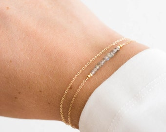 Dainty Gemstone Bracelet, Birthstone Bracelet / Gold, Rose Gold, Sterling Silver / Delicate Gemstone Bracelet Bar Layered and Long LB601