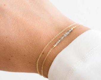 c82f9ee70a3 Dainty Gemstone Bracelet, Birthstone Bracelet / Gold, Rose Gold, Sterling  Silver / Delicate Gemstone Bracelet Bar Layered and Long LB601