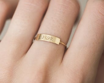 de42c43cba Personalized Bar Ring • Custom Initial Ring • Hand Stamped Name • 14k Gold  Fill, Sterling Silver • Dainty Bar Ring • layeredandlong, LR458