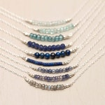 Gemstone Bar Necklaces, Sterling Silver Delicate 14k Gold Fill, Rose Gold Fill Chain / Gemstone Bead Bar Necklace by Layered and Long LN601