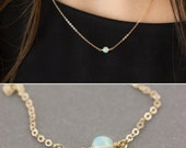 Dainty Opal Necklace, GENUINE real Opal on 14k Gold Fill, Sterling Silver or Rose Gold / Layered and Long LN630