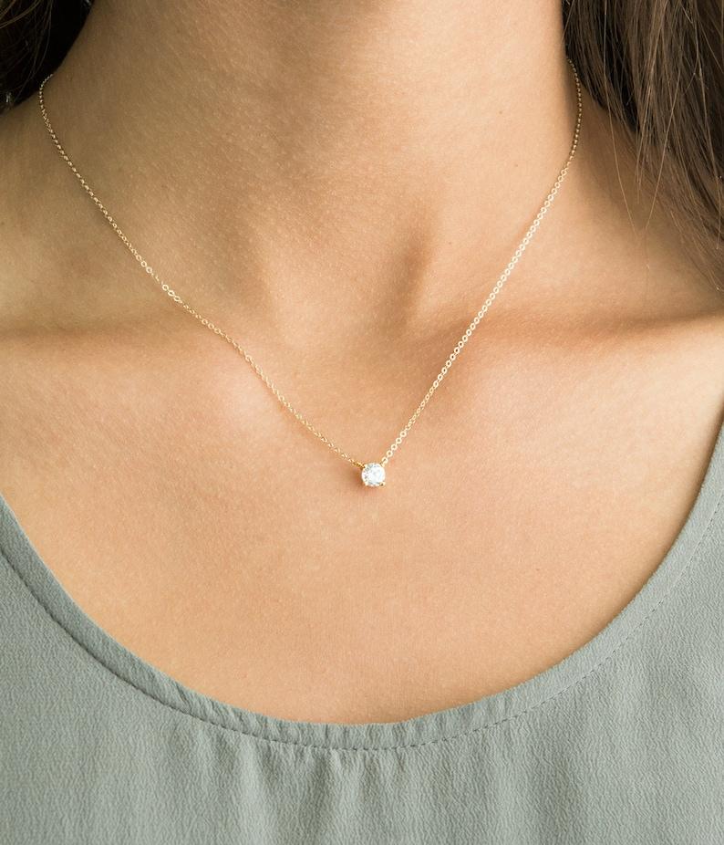 6e908aec3 Delicate CZ Necklace / Tiny Diamond Pendant 14k Gold Fill image 0 ...