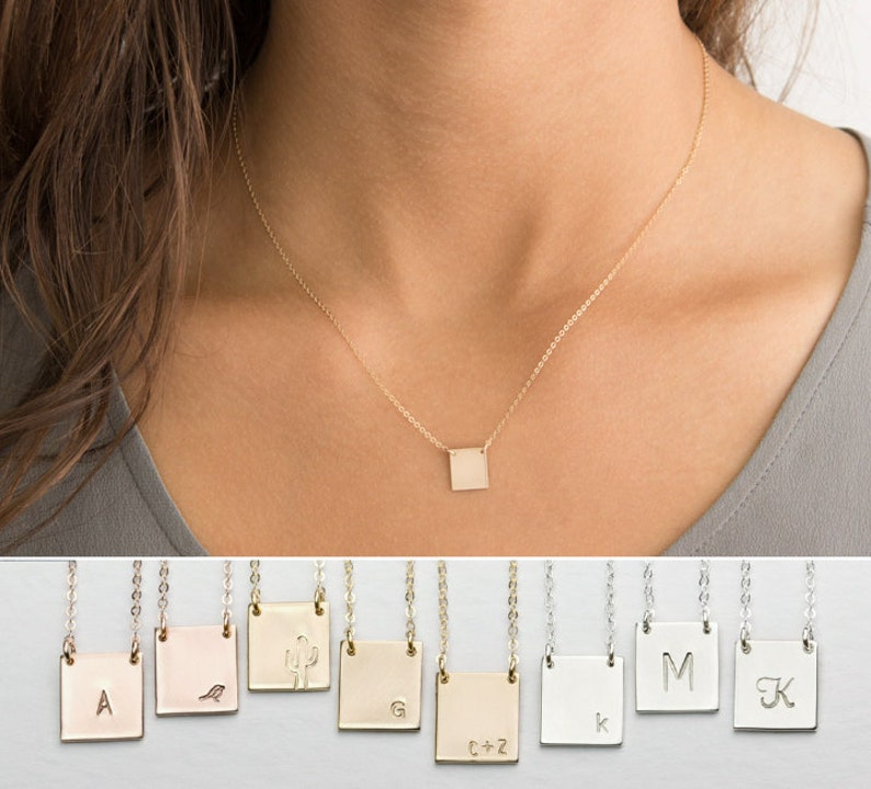 eaf89976b8f71 Square Plate Necklace, Personalized • Simple, Modern, Delicate Necklace •  14k Gold Fill, Sterling Silver, Rose Gold • Layered Long, LN110_H
