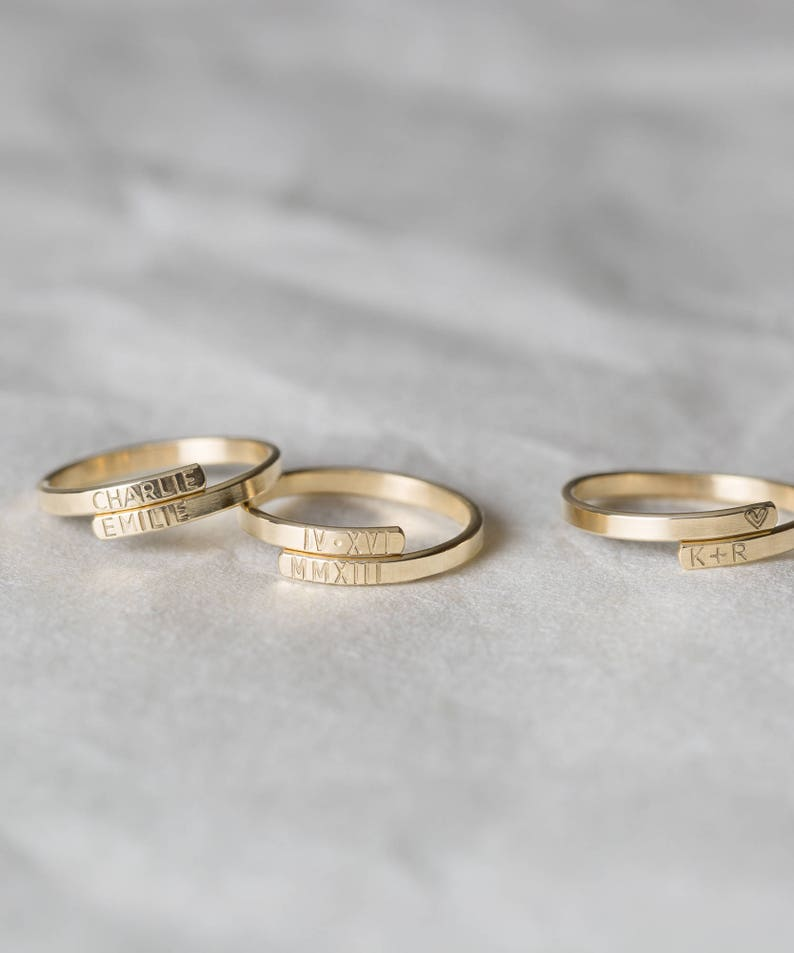 Personalized Name Ring  Dainty Initial Ring with Names Roman image 0