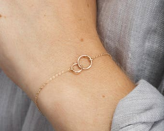 Unity Link Friendship Bracelet - Dainty Gold or Silver - Infinity Links Eternity Bracelet Gift • LB181