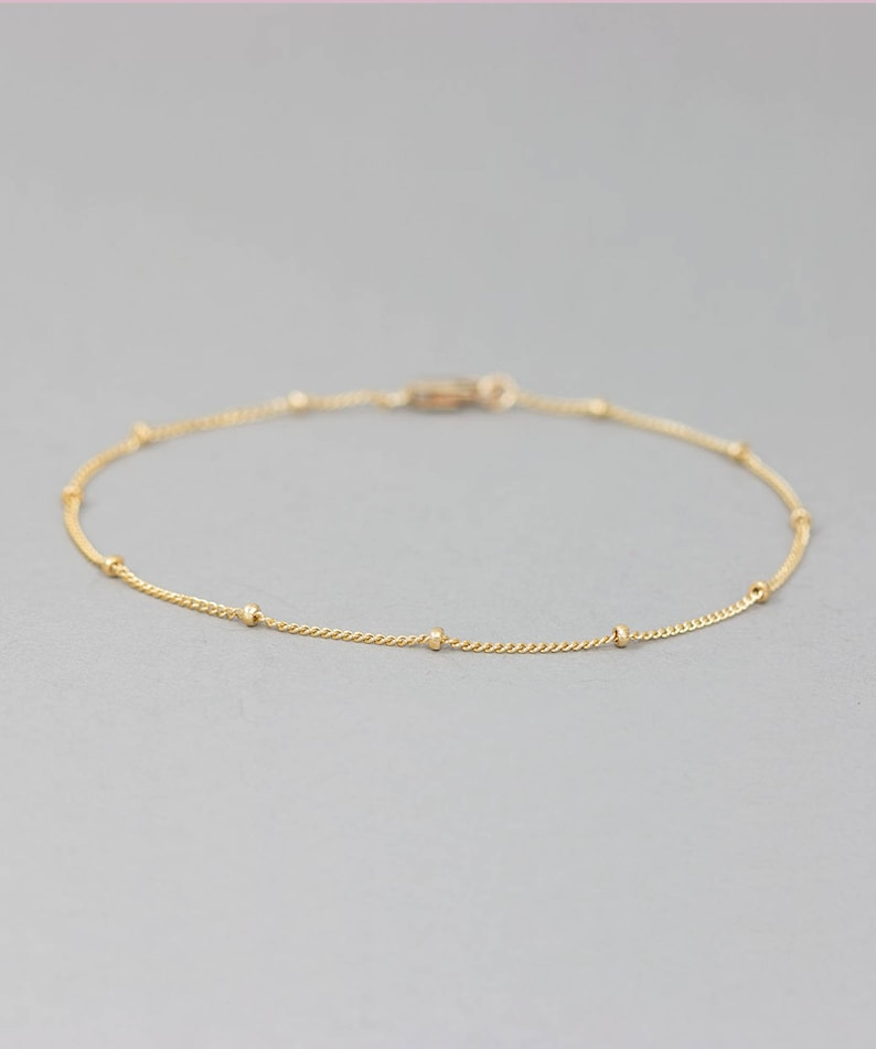 Delicate Dew Drops Bracelet  Dainty Thin Gold Chain for image 0