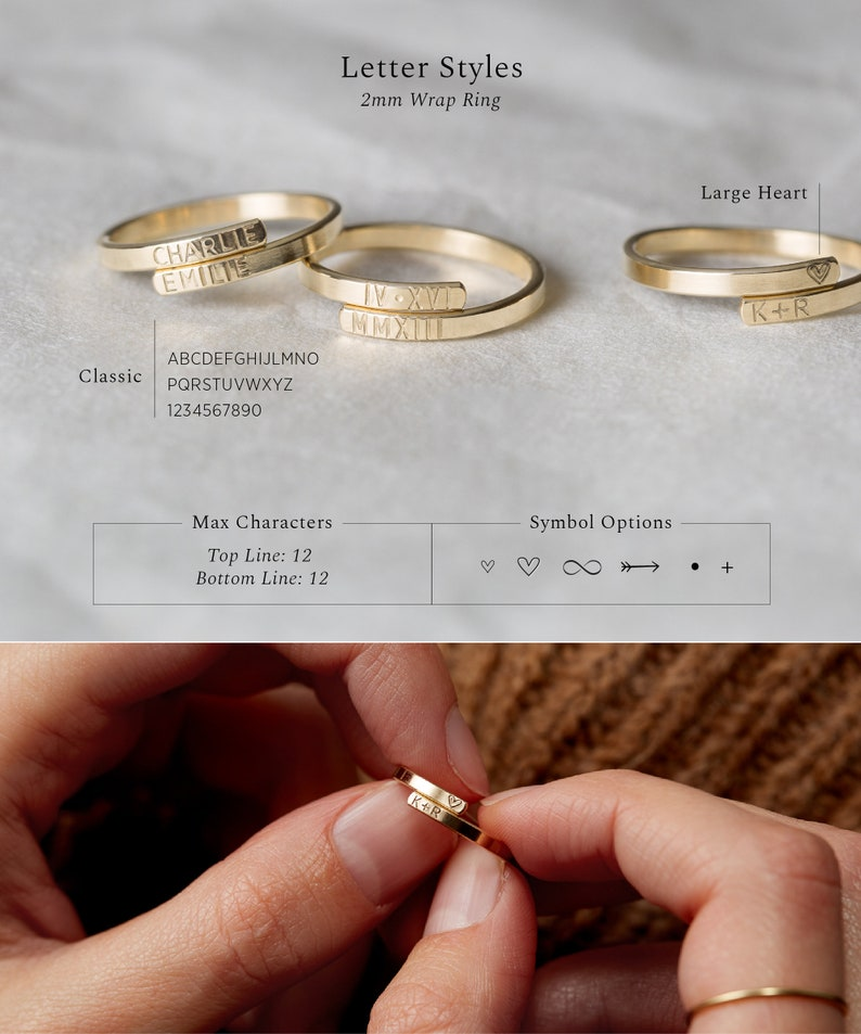 Stacked Name Rings LR452 14K Gold Filled or Rose Personalized Stacking Ring Initials Dainty Ring in Sterling Silver Dates