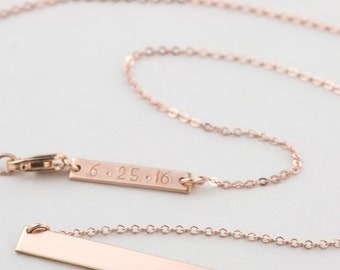 Personalized Bar Necklace, Rose Gold, Silver or Gold Filled / Bridesmaid Necklace Gift / Perfect Bar, LN140_35_H with ADD-ON Tag LA130_16_B