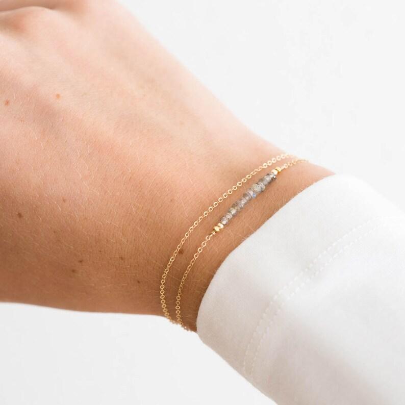 Dainty Gemstone Bracelet  Delicate Natural Birthstone image 0